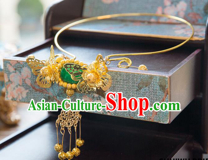 Aisan Chinese Handmade Classical Jewelry Accessories Tassel Necklace, China Xiuhe Suit Golden Butterfly Tassel Necklet for Women