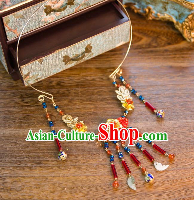 Aisan Chinese Handmade Classical Jewelry Accessories Tassel Necklace, China Xiuhe Suit Red Chinese Knots Tassel Necklet for Women