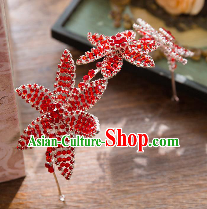 Top Grade Handmade Classical Hair Accessories Baroque Style Princess Red Crystal Hair Clasp Headwear for Women