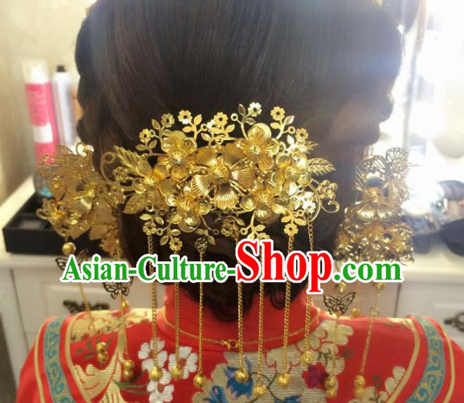 Aisan Chinese Handmade Classical Hair Accessories Tassel Golden Hair Comb, China Xiuhe Suit Hairpins Wedding Headwear for Women