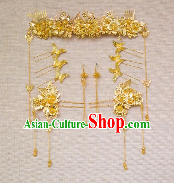 Aisan Chinese Handmade Classical Hair Accessories Tassel Golden Hair Comb Complete Set, China Xiuhe Suit Hairpins Wedding Headwear for Women