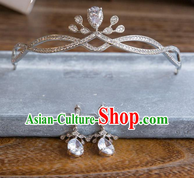 Top Grade Handmade Classical Hair Accessories Baroque Style Princess Zircon Royal Crown Headwear for Women