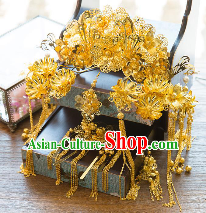Aisan Chinese Handmade Classical Hair Accessories Golden Phoenix Coronet Complete Set, China Xiuhe Suit Tassel Step Shake Hairpins Wedding Headwear for Women