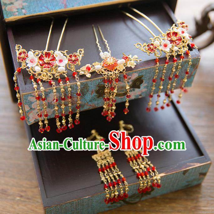Aisan Chinese Handmade Classical Hair Accessories Red Tassel Hair Comb Complete Set, China Xiuhe Suit Tassel Step Shake Hairpins Wedding Headwear for Women