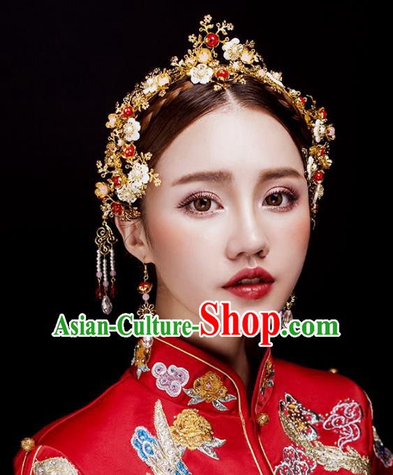 Aisan Chinese Handmade Classical Hair Accessories Tassel Phoenix Coronet Complete Set, China Xiuhe Suit Step Shake Hairpins Wedding Headwear for Women