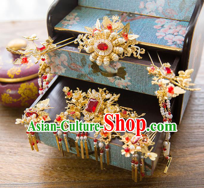 Aisan Chinese Handmade Classical Hair Accessories Pearls Hair Comb Complete Set, China Xiuhe Suit Tassel Step Shake Hairpins Wedding Headwear for Women