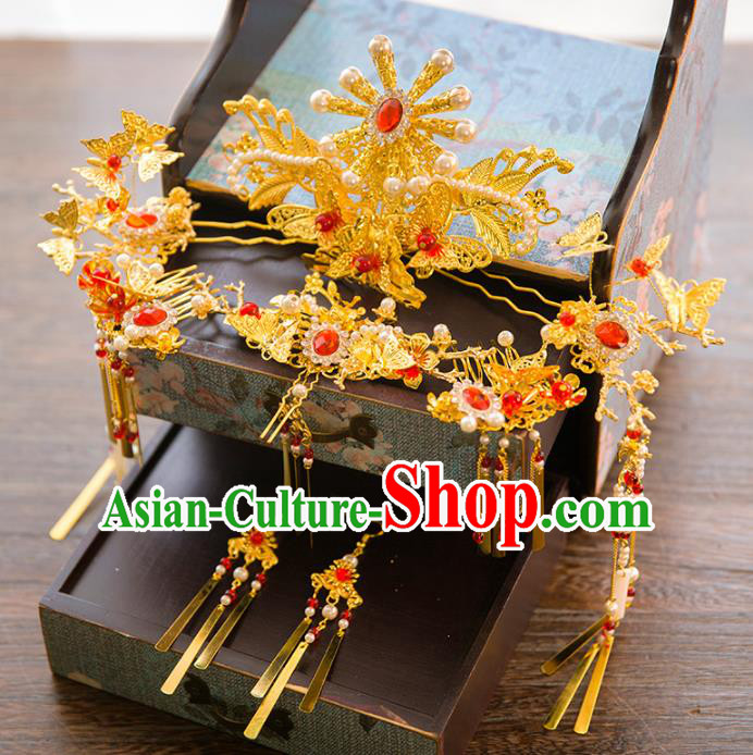 Aisan Chinese Handmade Classical Hair Accessories Red Crystal Hair Comb Complete Set, China Xiuhe Suit Tassel Step Shake Hairpins Wedding Headwear for Women