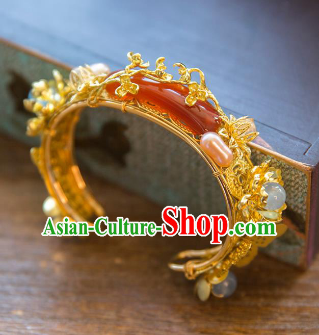 Aisan Chinese Handmade Classical Jewelry Accessories Red Agate Bracelet, China Xiuhe Suit Bride Bangle for Women