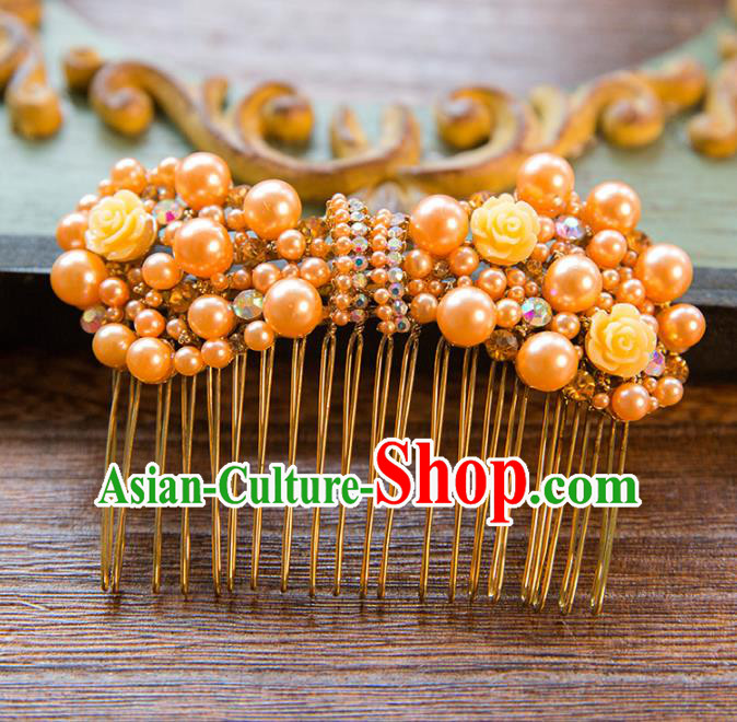 Top Grade Handmade Classical Hair Accessories Baroque Style Princess Hair Comb Headwear for Women