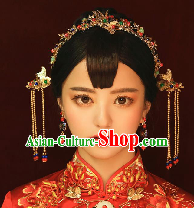 Aisan Chinese Handmade Classical Hair Accessories Butterfly Hair Clasp Complete Set, China Xiuhe Suit Hairpins Wedding Headwear for Women