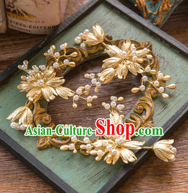 Top Grade Handmade Classical Hair Accessories Baroque Style Princess Golden Flowers Hair Stick Headwear for Women