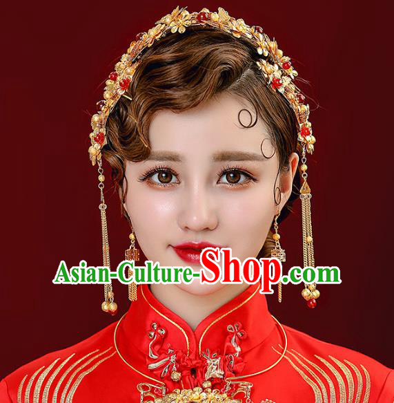 Aisan Chinese Handmade Classical Hair Accessories Hair Comb and Necklace Complete Set, China Xiuhe Suit Hairpins Wedding Headwear for Women