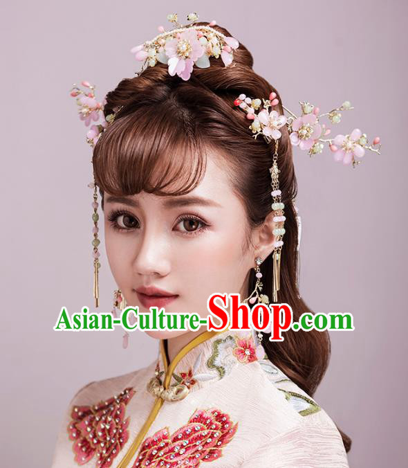Aisan Chinese Handmade Classical Hair Accessories Pink Flowers Hair Comb Tassel Step Shake Complete Set, China Xiuhe Suit Hairpins Wedding Headwear for Women