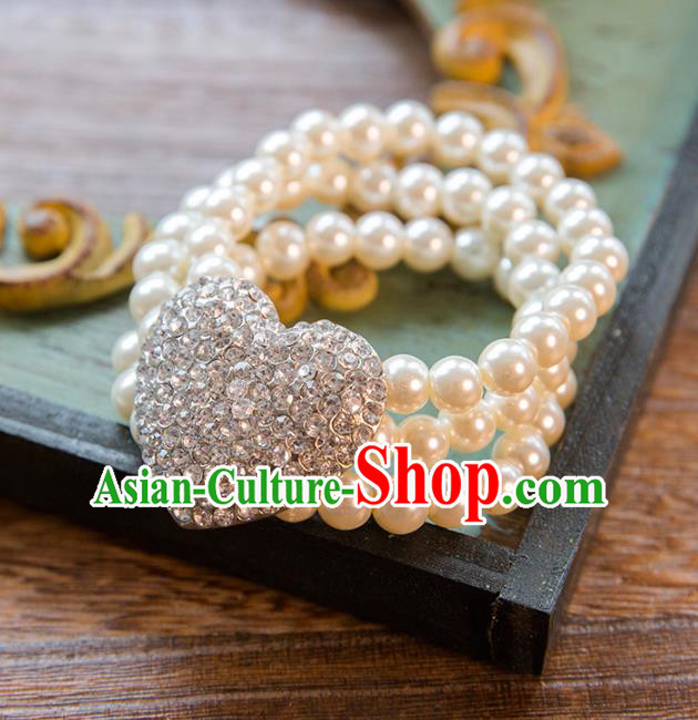 Top Grade Handmade Classical Jewelry Accessories Wedding Pearls Crystal Bracelets Bride Pearls Chain Bracelet for Women