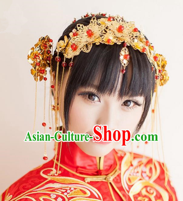Aisan Chinese Handmade Classical Hair Accessories Golden Hair Comb Complete Set, China Xiuhe Suit Hairpins Wedding Headwear for Women