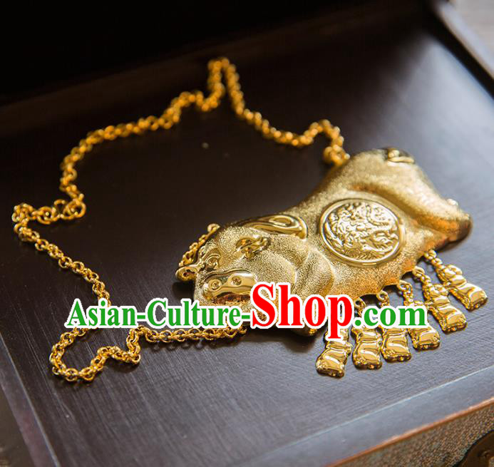 Aisan Chinese Handmade Classical Jewelry Accessories Golden Pig Necklace, China Xiuhe Suit Golden Tassel Necklet for Women