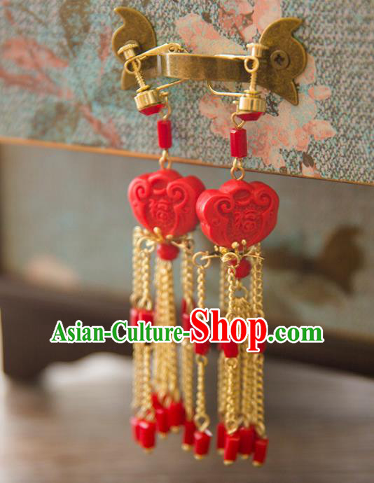 Top Grade Handmade Classical Hair Accessories Hanfu Red Earrings, Chinese Princess Eardrop for Women