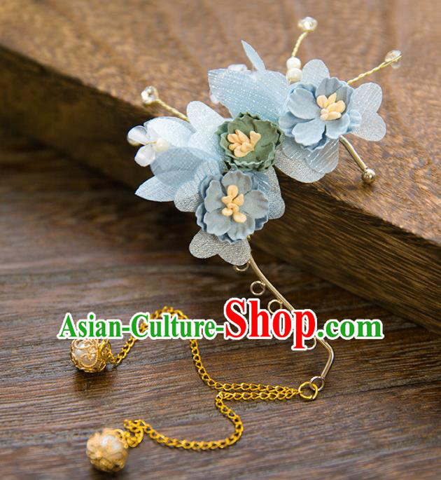 Top Grade Handmade Classical Hair Accessories Blue Flowers Earrings, Chinese Princess Tassel Eardrop for Women