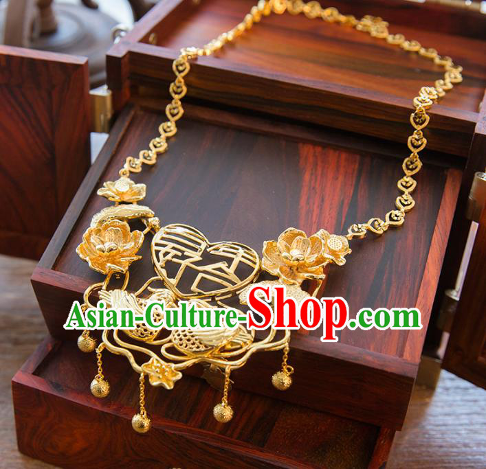 Aisan Chinese Handmade Classical Jewelry Accessories Golden Mandarin Duck Necklace, China Xiuhe Suit Golden Tassel Necklet for Women