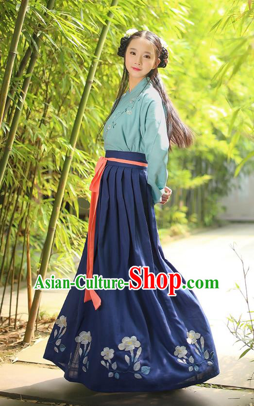 Asian Chinese Hanfu Costumes Han Dynasty Embroidered Green Blouse and Grey Slip Skirts Complete Set for Women