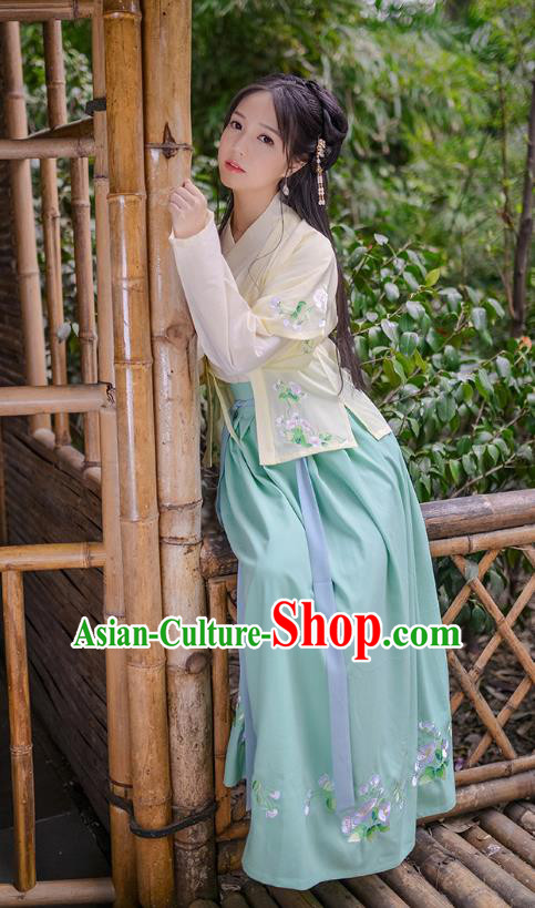 Asian Chinese Hanfu Costumes Song Dynasty Young Lady Embroidered Half-Sleeves Blouse and Slip Skirts Complete Set for Women
