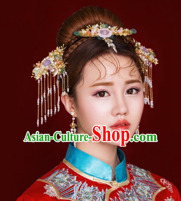 Aisan Chinese Handmade Classical Hair Accessories Purple Tassel Hair Comb Complete Set, China Xiuhe Suit Hairpins Wedding Headwear for Women