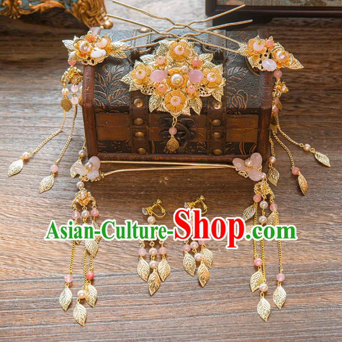 Aisan Chinese Handmade Classical Hair Accessories Pink Beads Tassel Hair Comb Complete Set, China Xiuhe Suit Hairpins Wedding Headwear for Women