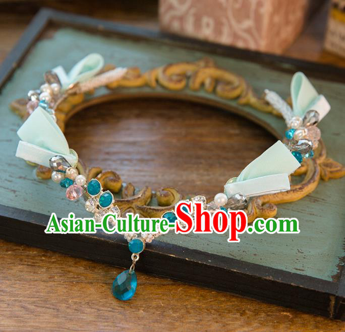 Top Grade Handmade Classical Hair Accessories Baroque Style Princess Crystal Forehead Ornament Green Headband Headwear for Women