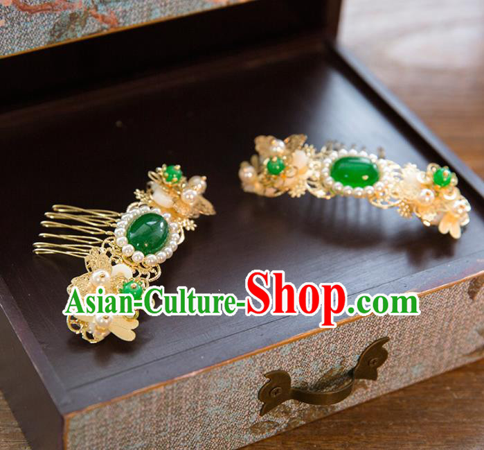 Aisan Chinese Handmade Classical Hair Accessories Green Jade Hair Comb, China Xiuhe Suit Hairpins Wedding Headwear for Women