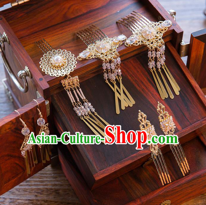 Aisan Chinese Handmade Classical Hair Accessories Hanfu Hair Comb Step Shake, China Xiuhe Suit Hairpins Wedding Headwear for Women
