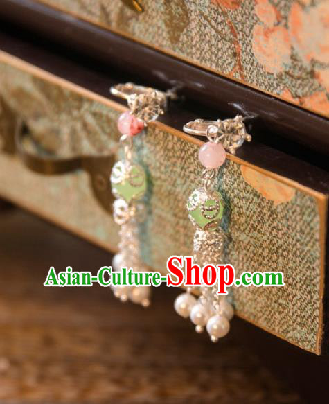 Chinese Handmade Classical Jewelry Accessories Tassel Earrings, China Xiuhe Suit Green Bead Tassel Eardrop for Women
