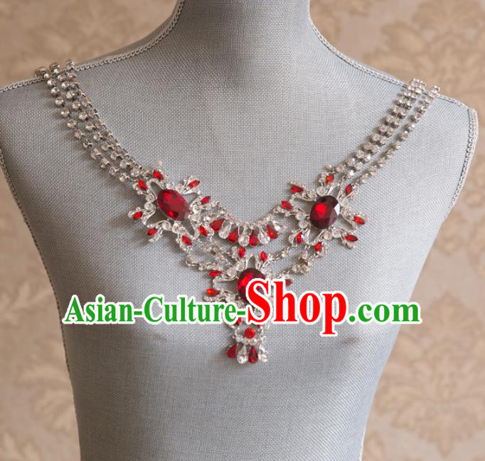 Aisan Chinese Handmade Classical Jewelry Accessories Necklace, China Bride Red Crystal Tassel Necklet for Women