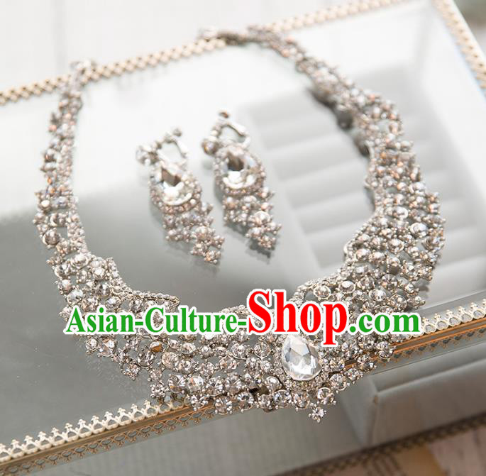 Top Grade Handmade Classical Jewelry Accessories Earrings and Necklace, Baroque Style Princess Crystal Headwear for Women