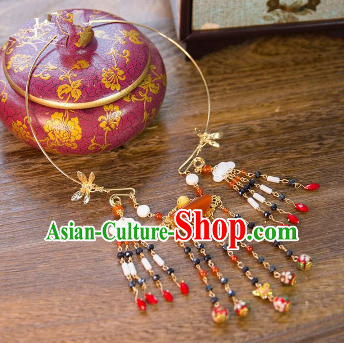 Aisan Chinese Handmade Classical Jewelry Accessories Tassel Necklace, China Xiuhe Suit Butterfly Tassel Necklet for Women