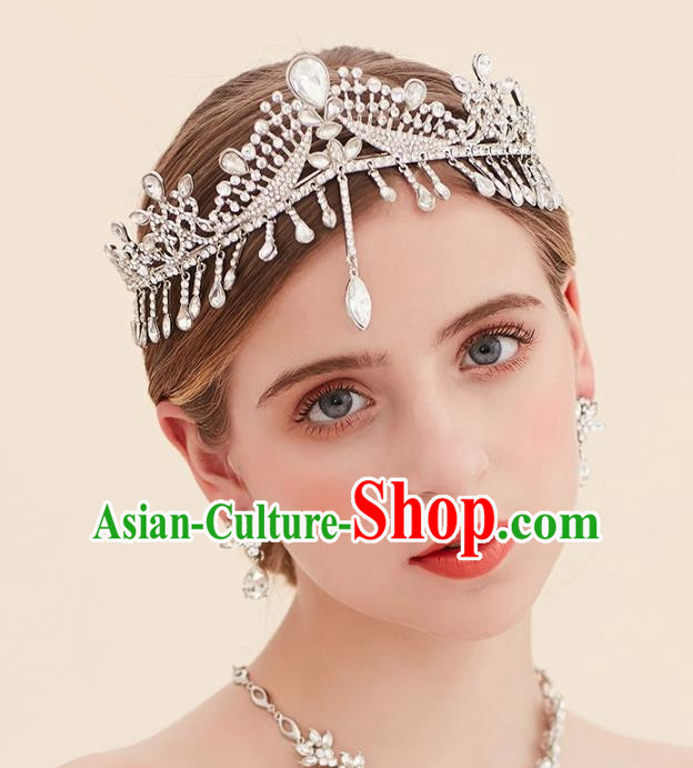 Top Grade Handmade Classical Hair Accessories Forehead Ornament Royal Crown, Baroque Style Princess Crystal Hair Clasp Headwear for Women