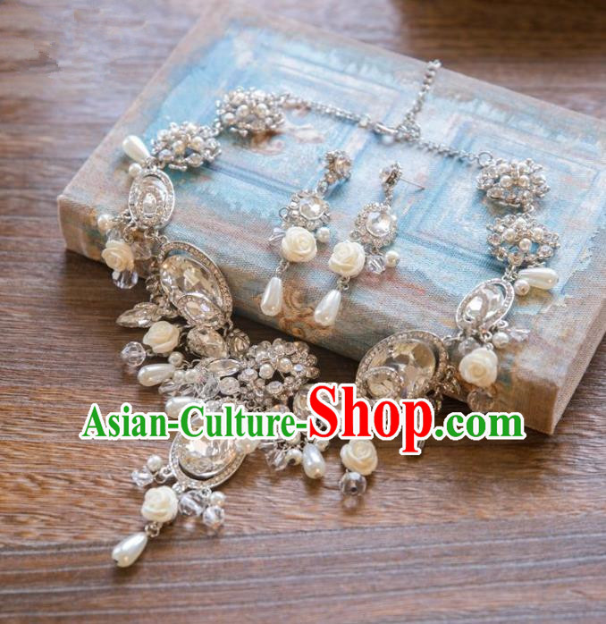Top Grade Handmade Classical Hair Accessories Necklace and Earrings, Baroque Style Princess Crystal Headwear for Women