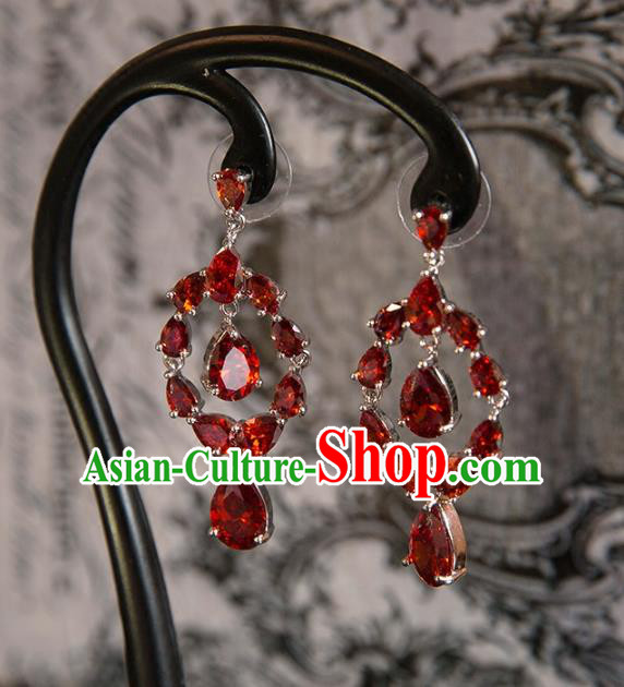 Top Grade Handmade Classical Hair Accessories Baroque Tassel Earrings, Princess Red Crystal Bride Eardrop for Women