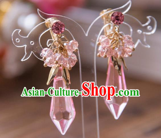 Top Grade Handmade Classical Hair Accessories Baroque Tassel Earrings, Princess Pink Crystal Eardrop for Women