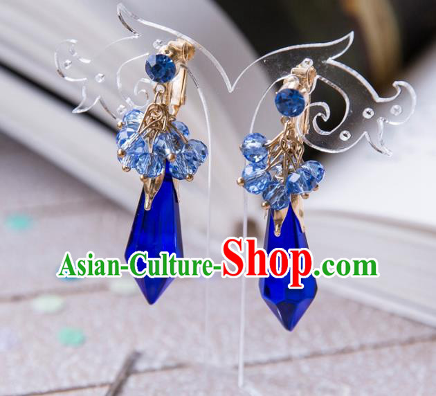 Top Grade Handmade Classical Hair Accessories Baroque Tassel Earrings, Princess Blue Crystal Eardrop for Women