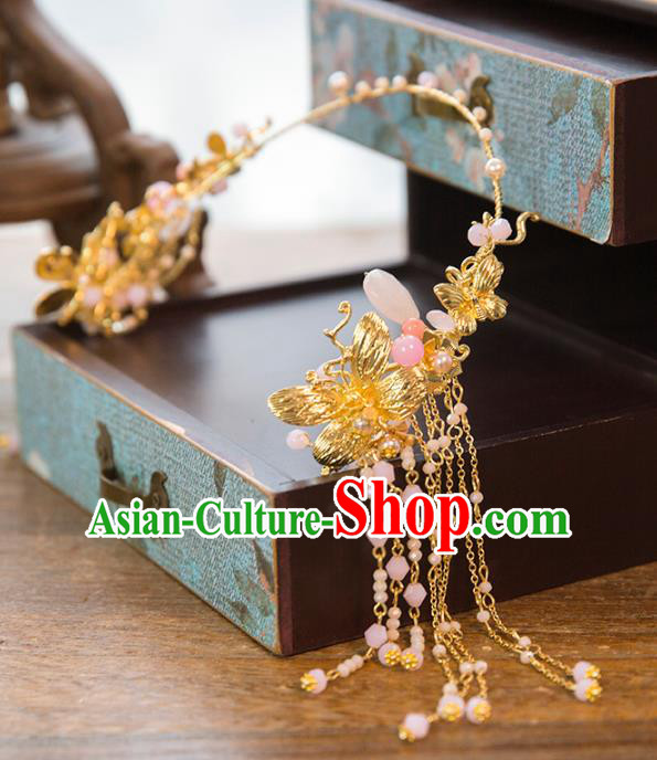Aisan Chinese Handmade Classical Hair Accessories Pink Tassel Forehead Ornament, China Xiuhe Suit Hairpins Wedding Hair Clasp Headwear for Women