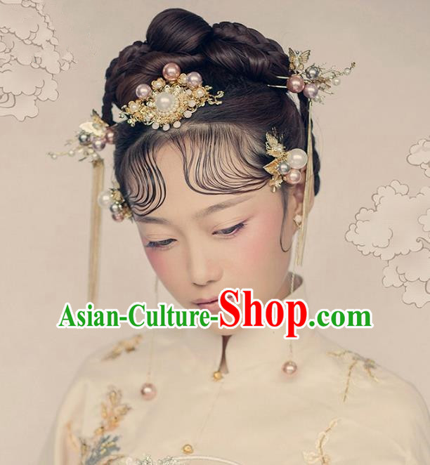 Aisan Chinese Handmade Classical Hair Accessories Hanfu Pearls Hair Comb Complete Set, China Xiuhe Suit Hairpins Wedding Headwear for Women