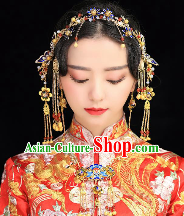 Aisan Chinese Handmade Classical Hair Accessories Hanfu Cloisonne Butterfly Hair Clasp Complete Set, China Xiuhe Suit Hairpins Wedding Headwear for Women