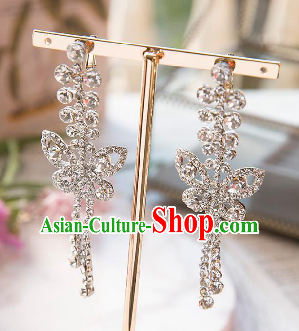 Top Grade Handmade Classical Jewelry Accessories Eardrop Baroque Style Princess Crystal Butterfly Earrings Headwear for Women