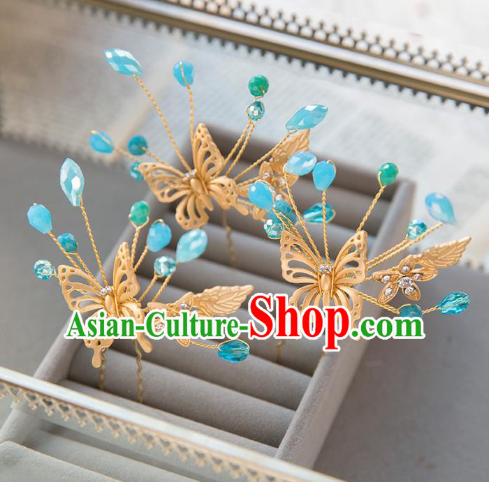 Top Grade Handmade Classical Hair Accessories Hairpins Baroque Style Princess Butterfly Headwear for Women