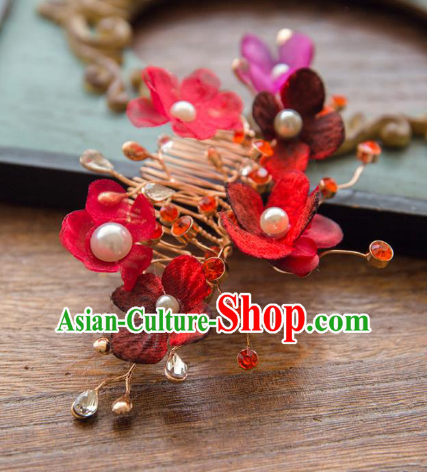 Aisan Chinese Handmade Classical Hair Accessories Hanfu Red Flowers Hair Comb, China Xiuhe Suit Wedding Headwear for Women