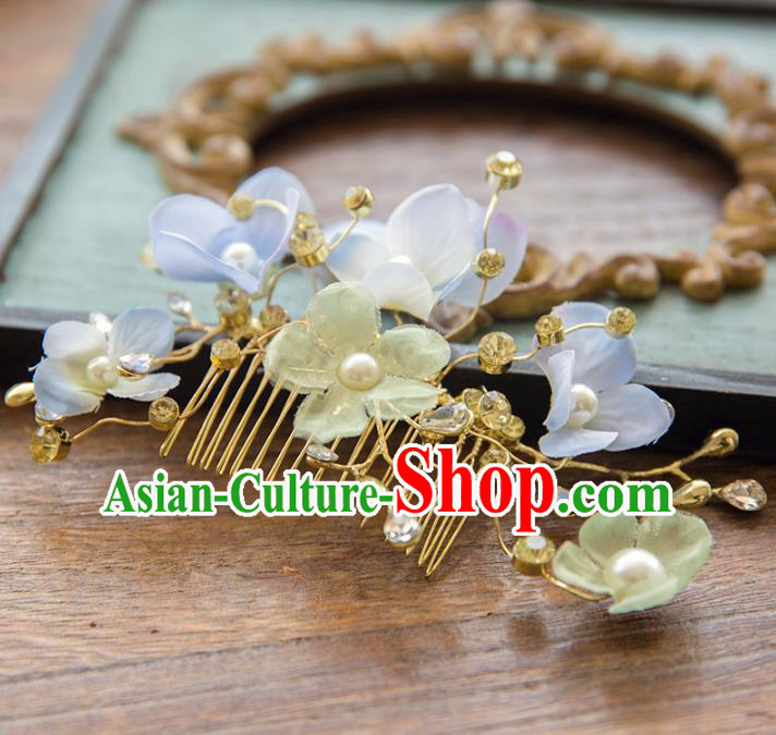 Aisan Chinese Handmade Classical Hair Accessories Hanfu Blue Flowers Hair Comb, China Xiuhe Suit Wedding Headwear for Women