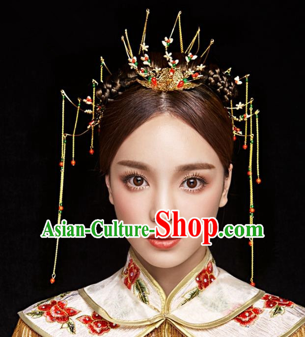Aisan Chinese Handmade Classical Hair Accessories Hanfu Tassel Hair Clip, China Xiuhe Suit Step Shake Hairpins Wedding Headwear Complete Set for Women
