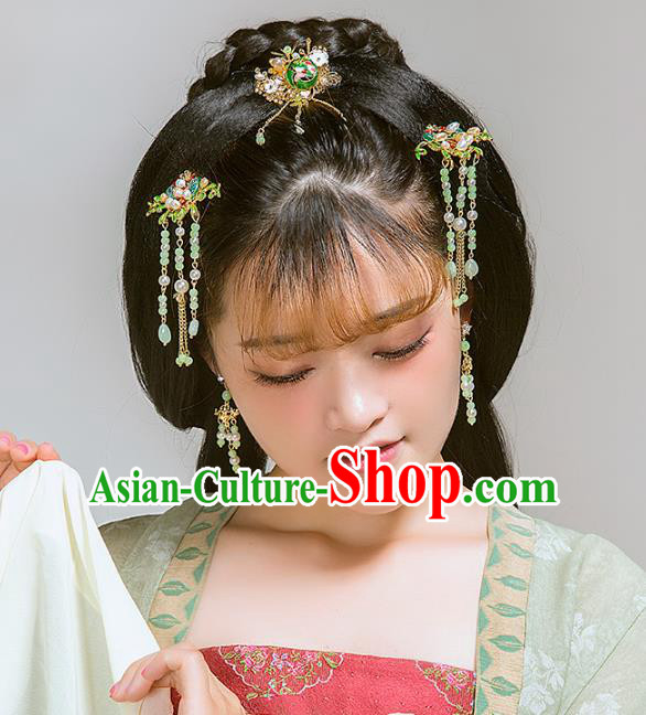 Aisan Chinese Handmade Classical Hair Accessories Hanfu Green Beads Tassel Step Shake, China Xiuhe Suit Hairpins Wedding Headwear Complete Set for Women