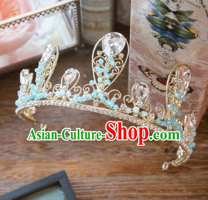 Top Grade Handmade Classical Hair Accessories Baroque Style Princess Blue Beads Royal Crown Headwear