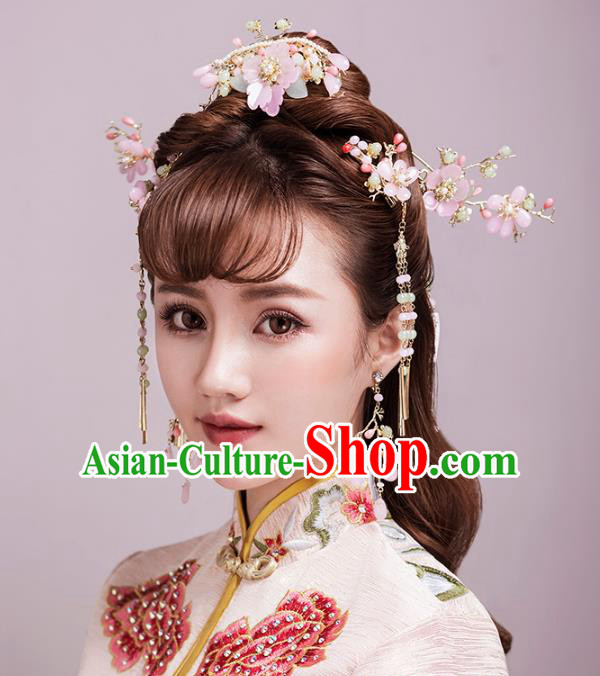 Aisan Chinese Handmade Classical Hair Accessories Hanfu Shell Pink Flowers Hair Clasp Complete Set, China Xiuhe Suit Hairpins Wedding Headwear for Women